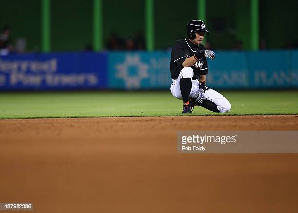 Ichiro Suzuki of the Miami Marlins looks on during the game against the Washington Nationals at Marlins Park on September 12 2015 in Miami Florida