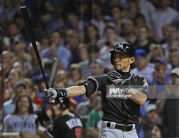 Ichiro Suzuki of the Miami Marlins pinchhits in the 7th inning against the Chicago Cubs at Wrigley Field on August 2 2016 in Chicago Illinois