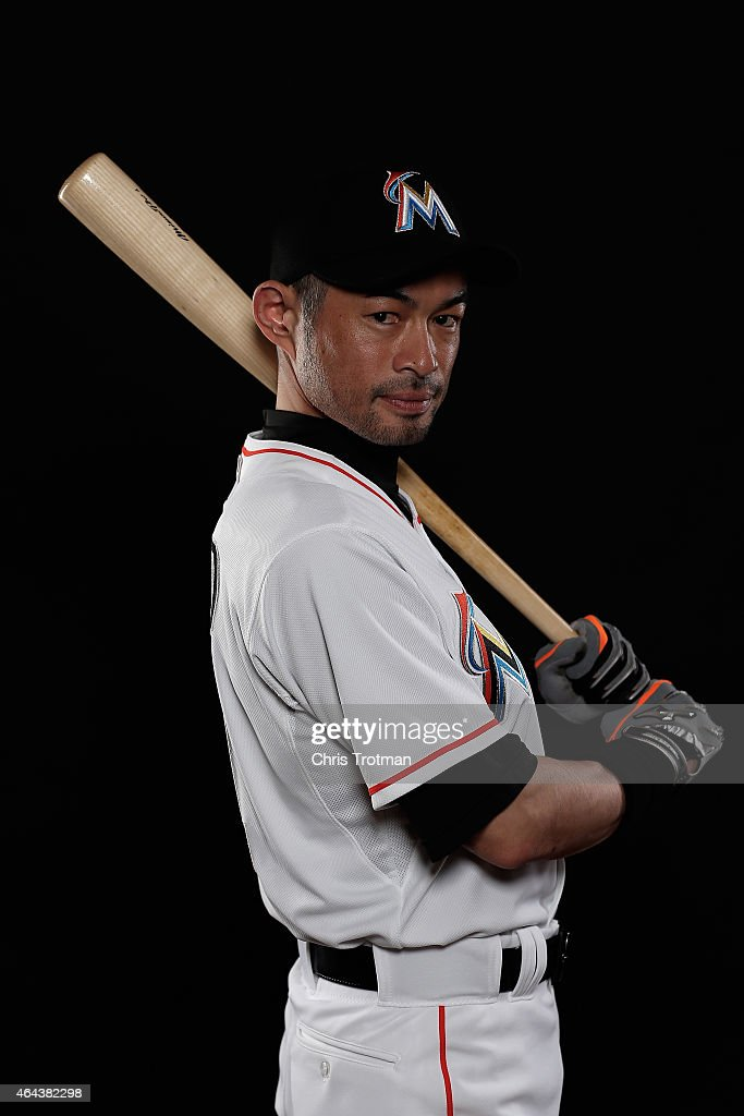 Ichiro Suzuki #51 of the Miami Marlins poses for a photograph at Spring Training photo day at Roger Dean Stadium on February 25, 2015 in Jupiter, Florida.