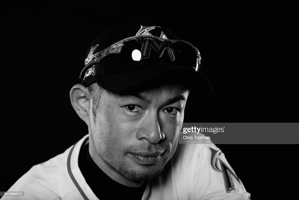 Ichiro Suzuki #51 of the Miami Marlins poses for a photograph at Spring Training photo day at Roger Dean Stadium on February 18, 2017 in Jupiter, Florida.