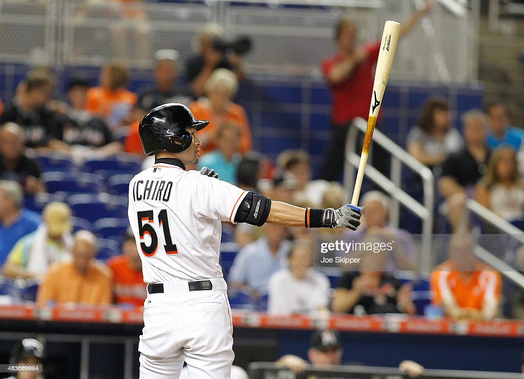 Ichiro Suzuki #51 of the Miami Marlins prepares to hits a in the ninth inning against the Boston Red Sox at Marlins Park on August 11, 2015 in Miami, Florida.The Marlins won the game 5-4.