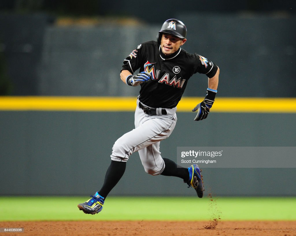 Ichiro Suzuki #51 of the Miami Marlins rounds the bases to score a ninth inning run against the Atlanta Braves at SunTrust Park on September 8, 2017 in Atlanta, Georgia.