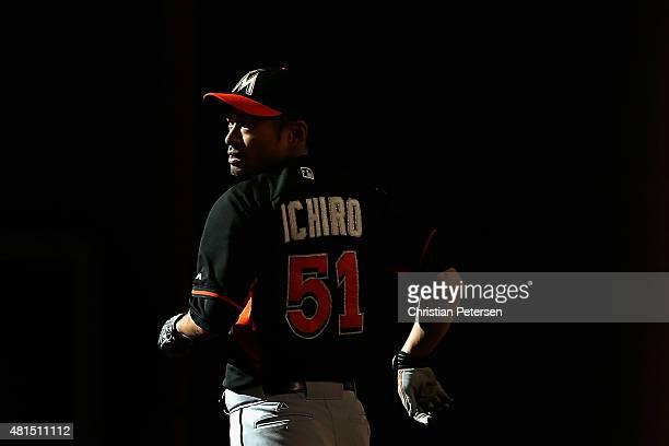 Ichiro Suzuki of the Miami Marlins runs the bases during batting practice to the MLB game against the Arizona Diamondbacks at Chase Field on July 21...