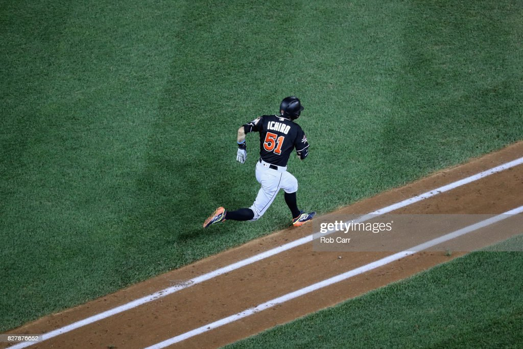 Ichiro Suzuki #51 of the Miami Marlins runs to first base while grounding out for the third out of the sixth inning against the Washington Nationals at Nationals Park on August 8, 2017 in Washington, DC.