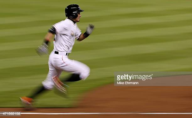 Ichiro Suzuki of the Miami Marlins runs to first during a game against the New York Mets at Marlins Park on April 29 2015 in Miami Florida