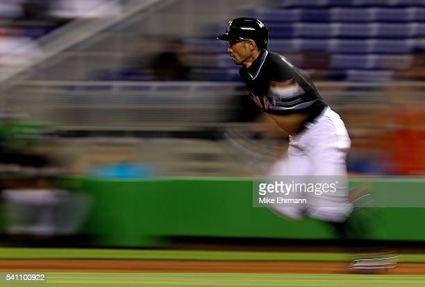 Ichiro Suzuki of the Miami Marlins runs to second during a game against the Colorado Rockies at Marlins Park on June 18 2016 in Miami Florida