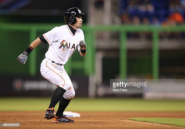 Ichiro Suzuki of the Miami Marlins runs to third base during the sixth inning of the game against the Cincinnati Reds at Marlins Park on July 10 2015...