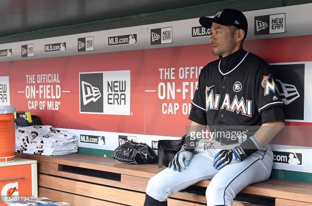 Ichiro Suzuki of the Miami Marlins sits in the dugout before the game against the Washington Nationals at Nationals Park on August 10, 2017 in...