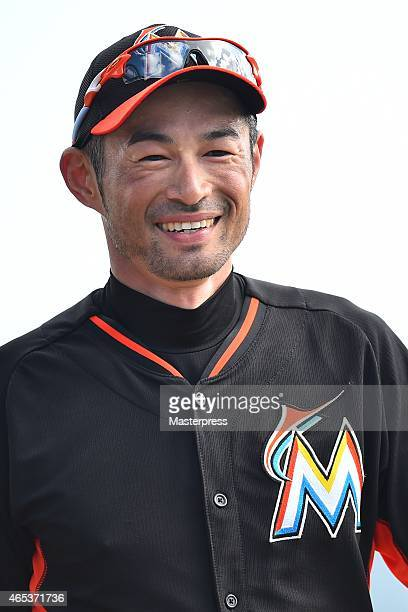 Ichiro Suzuki of the Miami Marlins smiles prior to the spring training game against the St Louis Cardinals at Roger Dean Stadium on March 5 2015 in...