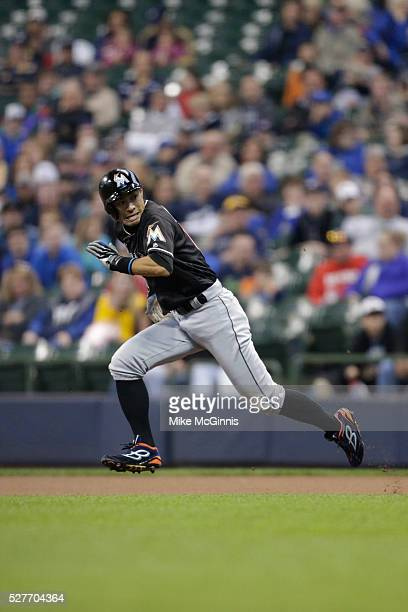 Ichiro Suzuki of the Miami Marlins steals his 500 career base during the first inning against the Milwaukee Brewers at Miller Park on April 29 2016...