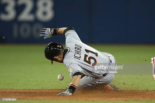 Ichiro Suzuki of the Miami Marlins steals second base in the fifth inning during MLB game action against the Toronto Blue Jays on June 8 2015 at...