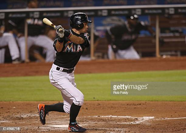 Ichiro Suzuki of the Miami Marlins strikes out during an at bat during the sixth inning of the game against the Baltimore Orioles at Marlins Park on...
