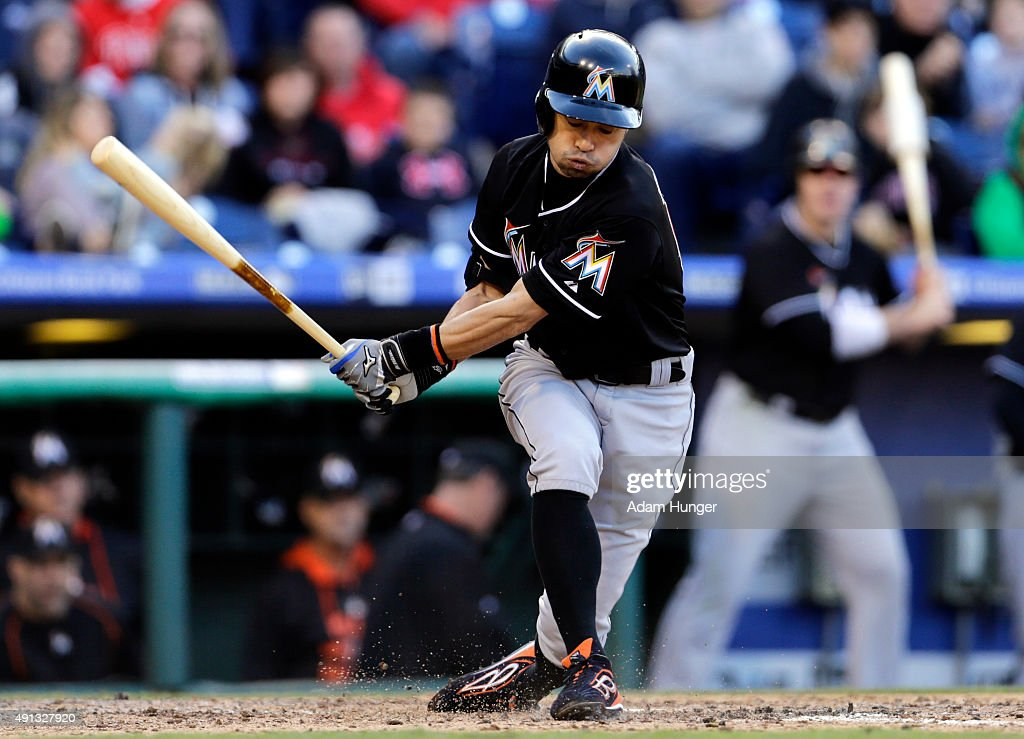 Ichiro Suzuki #51 of the Miami Marlins strikes out during the eighth inning of an MLB game against the Philadelphia Phillies at Citizens Bank Park on October 4, 2015 in Philadelphia, Pennsylvania. The Phillies defeated the Marlins 7-2.