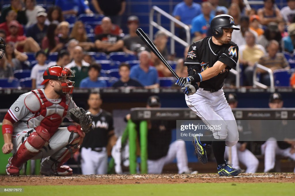 Ichiro Suzuki #51 of the Miami Marlins swings at a pitch during the sixth inning against the Philadelphia Phillies at Marlins Park on September 2, 2017 in Miami, Florida.