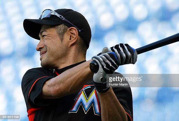 Ichiro Suzuki of the Miami Marlins takes batting practice before a game against the Philadelphia Phillies at Citizens Bank Park on May 16 2016 in...
