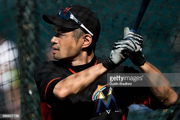 Ichiro Suzuki of the Miami Marlins takes batting practice before a game against the Colorado Rockies at Coors Field on August 6 2016 in Denver...