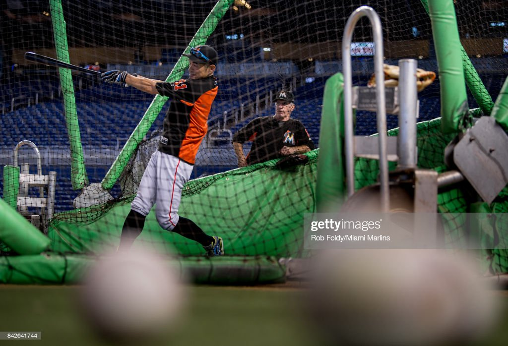 Ichiro Suzuki #51 of the Miami Marlins takes batting practice before the game hagainst the Washington Nationals at Marlins Park on September 4, 2017 in Miami, Florida.