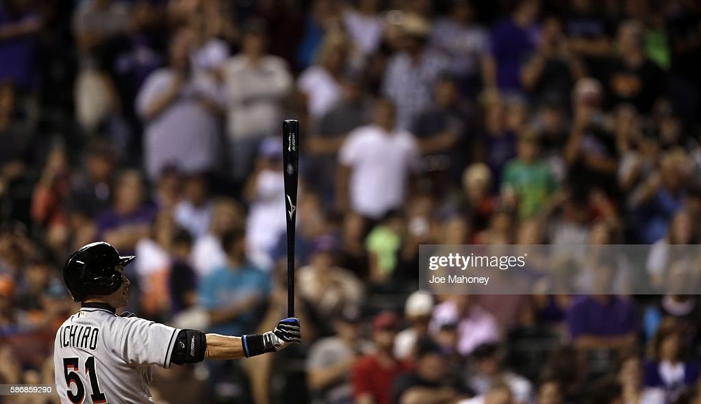 Ichiro Suzuki #51 of the Miami Marlins waits for a pitch during an at-bat in the seventh inning against the Colorado Rockies when IIchiro got the 2,999th hit of his Major League Baseball career at Coors Field on August 6, 2016 in Denver, Colorado.