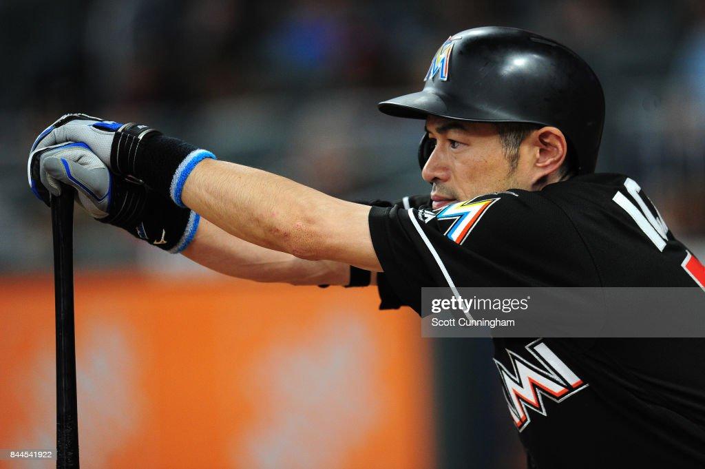 Ichiro Suzuki #51 of the Miami Marlins waits on deck to hit during the ninth inning against the Atlanta Braves at SunTrust Park on September 8, 2017 in Atlanta, Georgia.