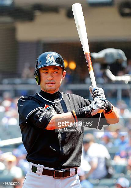 Ichiro Suzuki of the Miami Marlins waits to bat early in a game against the New York Mets at Citi Field on May 31 2015 in the Flushing neighborhood...