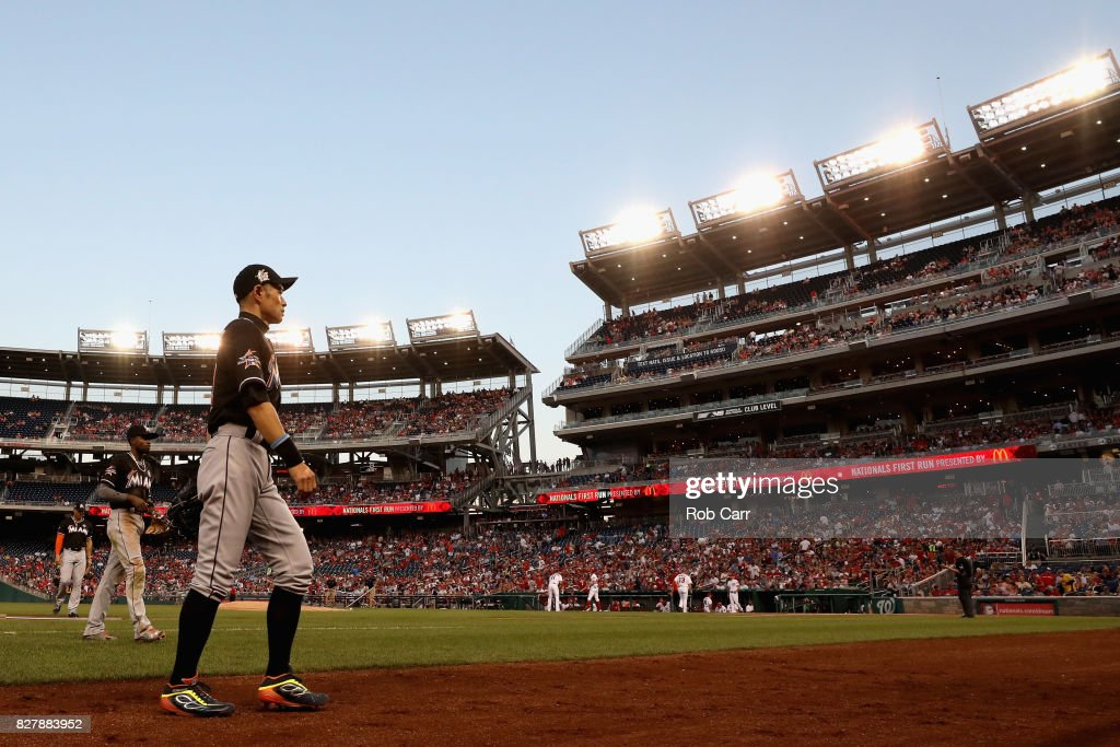 Ichiro Suzuki #51 of the Miami Marlins walks off the field in the third inning against the Washington Nationals at Nationals Park on August 8, 2017 in Washington, DC.