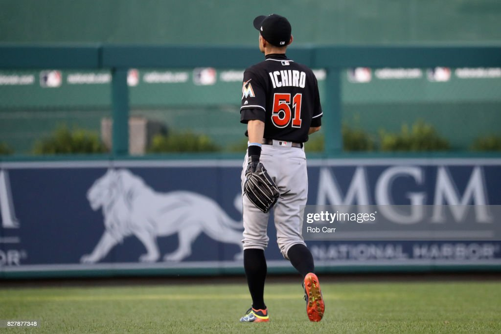 Ichiro Suzuki #51 of the Miami Marlins walks to left field before the start of the Marlins and Washington Nationals game at Nationals Park on August 8, 2017 in Washington, DC.