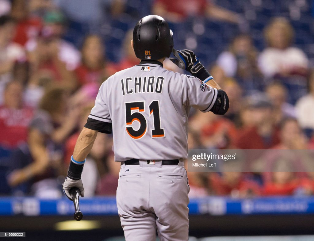 Ichiro Suzuki #51 of the Miami Marlins walks to the dugout after striking out in the top of the seventh inning against the Philadelphia Phillies at Citizens Bank Park on September 13, 2017 in Philadelphia, Pennsylvania. The Phillies defeated the Marlins 8-1.