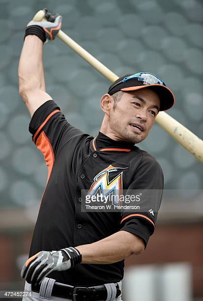 Ichiro Suzuki of the Miami Marlins warms up during batting practice prior to playing the San Francisco Giants at ATT Park on May 7 2015 in San...