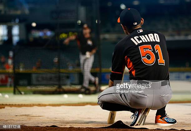 Ichiro Suzuki of the Miami Marlins warms up during batting practice to the MLB game against the Arizona Diamondbacks at Chase Field on July 21 2015...