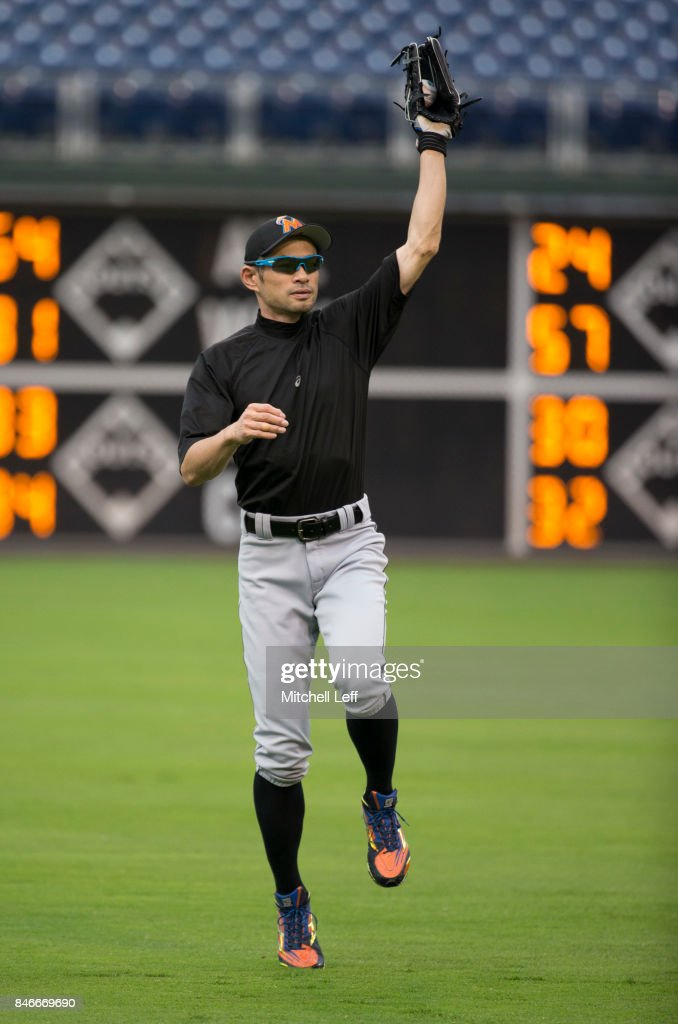 Ichiro Suzuki #51 of the Miami Marlins warms up prior to the game against the Philadelphia Phillies at Citizens Bank Park on September 13, 2017 in Philadelphia, Pennsylvania.