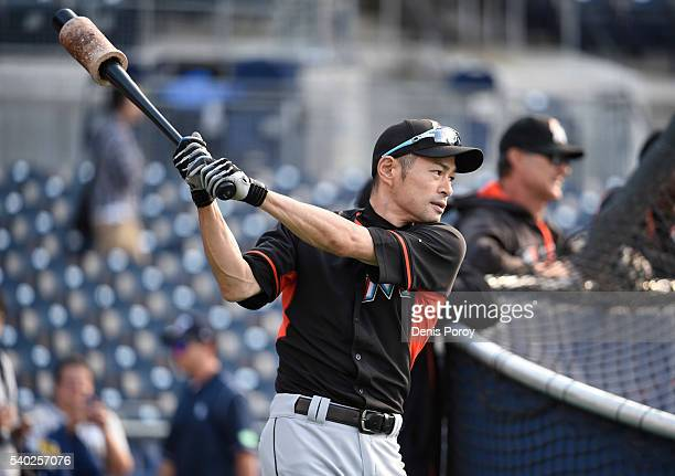 Ichiro Suzuki of the Miami Marlins warmsup during batting practice before a baseball game against the San Diego Padres at PETCO Park on June 14 2016...
