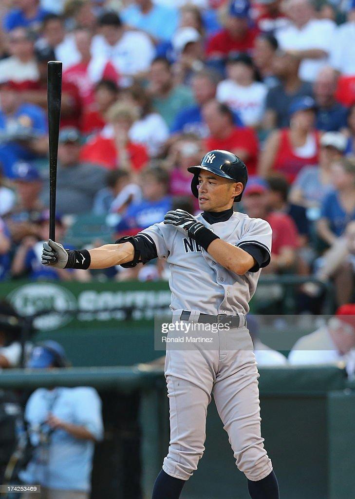 Ichiro Suzuki #31 of the New York Yankees at bat against the Texas Rangers at Rangers Ballpark in Arlington on July 22, 2013 in Arlington, Texas.