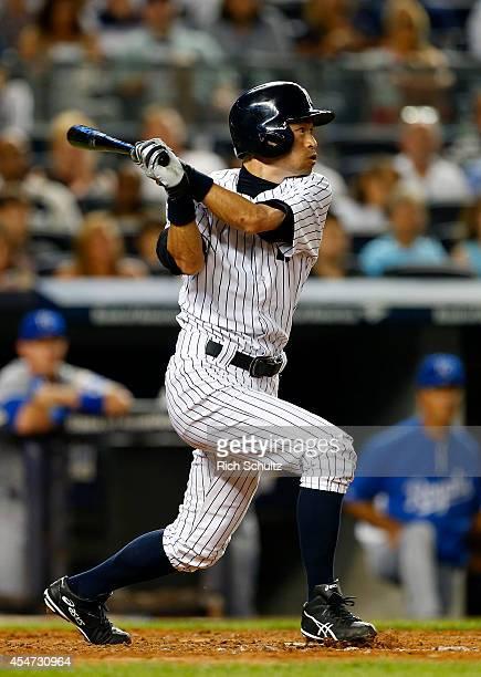 Ichiro Suzuki of the New York Yankees bats against the Kansas City Royals during the fifth inning in a MLB baseball game at Yankee Stadium on...