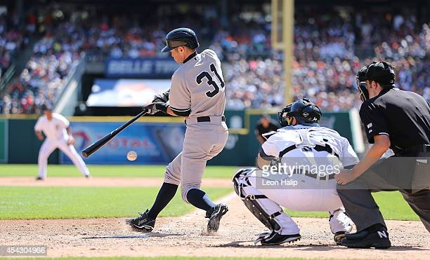 Ichiro Suzuki of the New York Yankees bats during the eighth inning of the game against the Detroit Tigers at Comerica Park on August 28 2014 in...