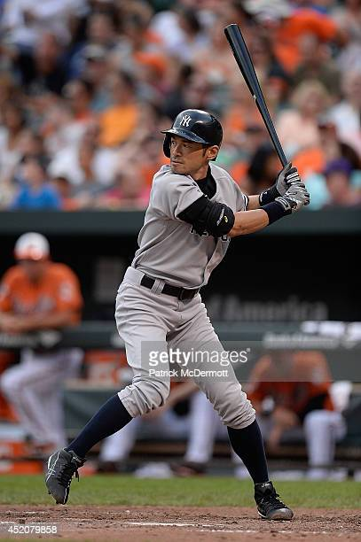 Ichiro Suzuki of the New York Yankees bats in the eighth inning during a game against the Baltimore Orioles at Oriole Park at Camden Yards on July 12...