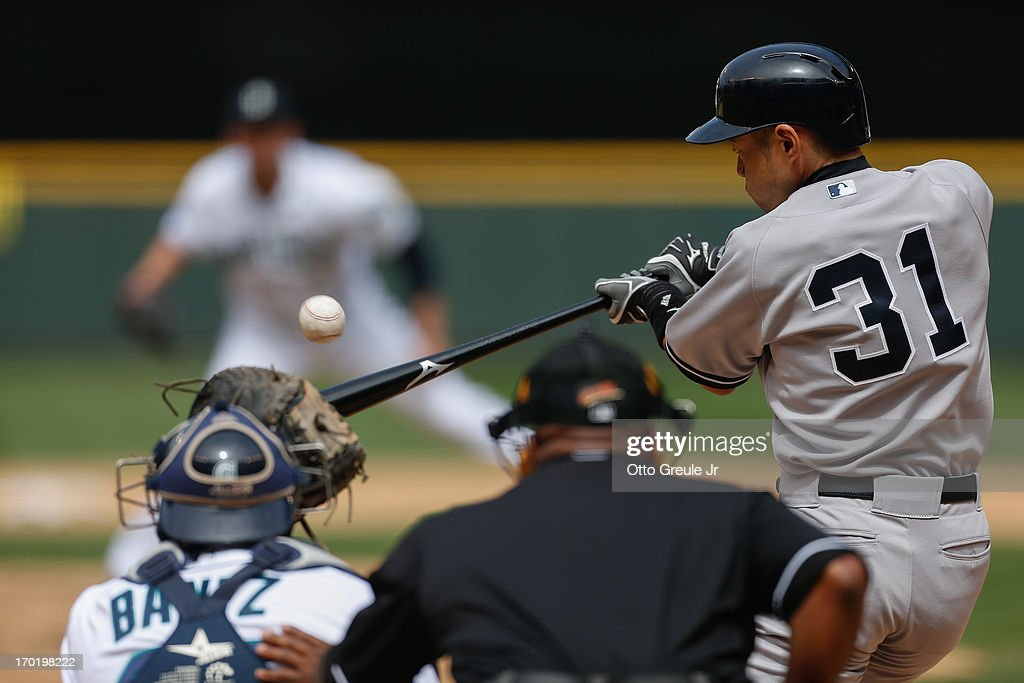 Ichiro Suzuki #31 of the New York Yankees bats in the seventh inning against the Seattle Mariners at Safeco Field on June 8, 2013 in Seattle, Washington. The Yankees defeated the Mariners 3-1.
