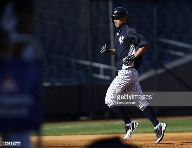 Ichiro Suzuki of the New York Yankees during batting practice before the start of a game against the Boston Red Sox at Yankee Stadium on September 5...
