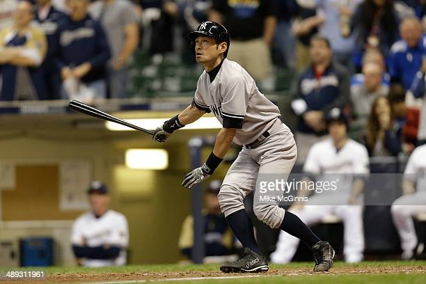 Ichiro Suzuki of the New York Yankees flies out to left field in the top of the ninth inning against the Milwaukee Brewers during the Interleague...