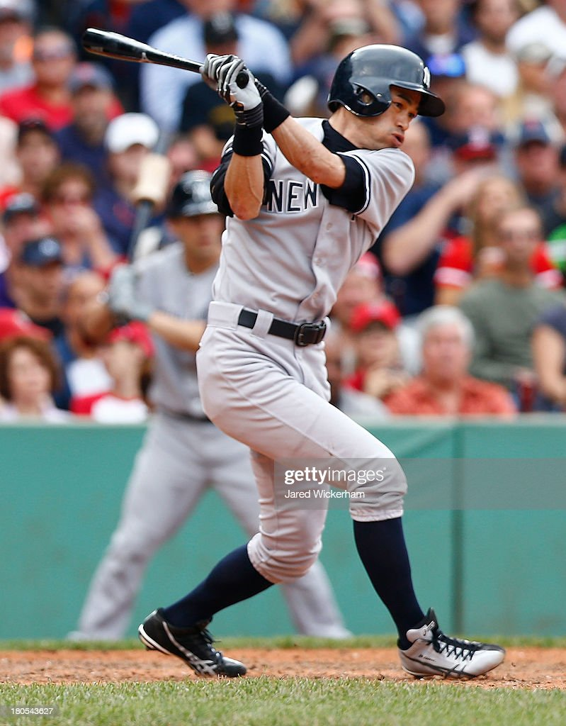 Ichiro Suzuki #31 of the New York Yankees grounds out in the 7th inning against the Boston Red Sox during the game on September 14, 2013 at Fenway Park in Boston, Massachusetts.