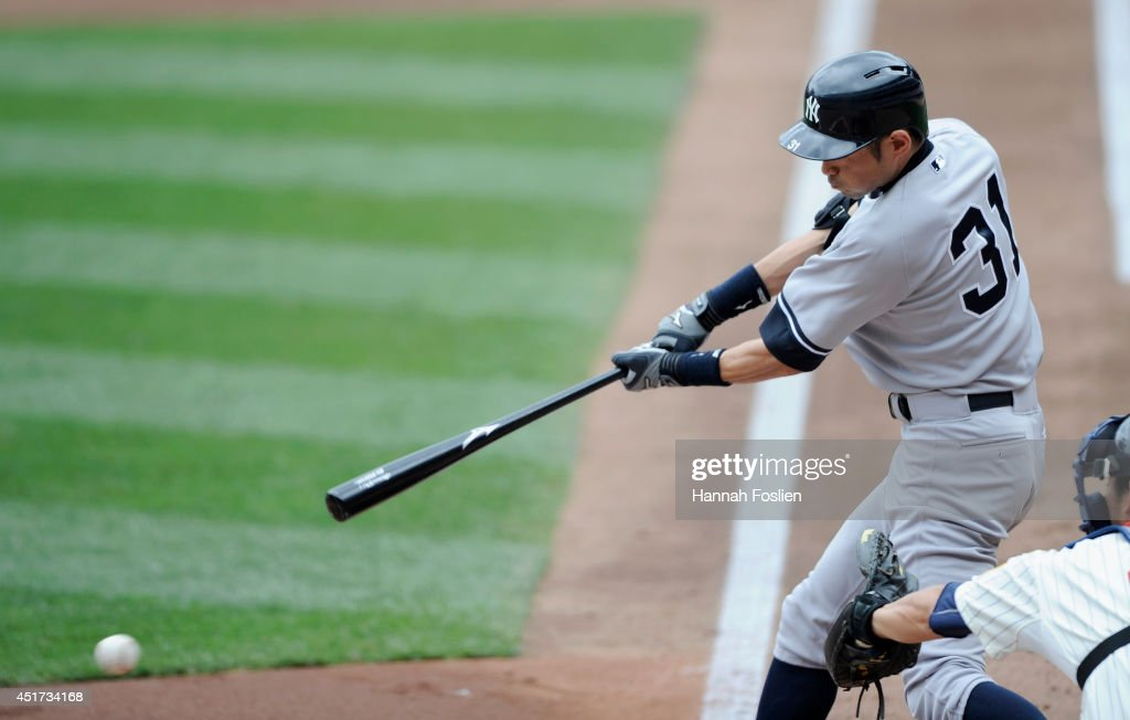 Ichiro Suzuki #31 of the New York Yankees hits a single against the Minnesota Twins during the second inning of the game on July 5, 2014 at Target Field in Minneapolis, Minnesota.
