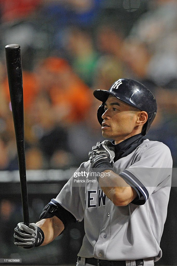 Ichiro Suzuki #31 of the New York Yankees holds the bat during the game against the Baltimore Orioles at Oriole Park at Camden Yards on June 28, 2013 in Baltimore, Maryland. The Baltimore Orioles won, 4-3.