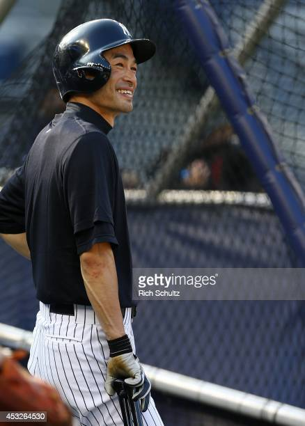 Ichiro Suzuki of the New York Yankees looks on during batting practice before the start of their game against the Detroit Tigers at Yankee Stadium on...