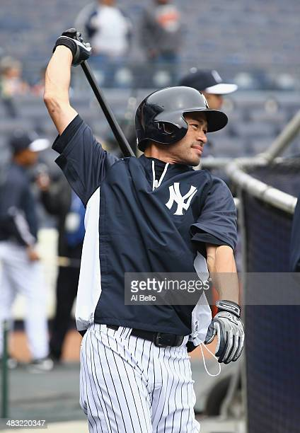 Ichiro Suzuki of the New York Yankees participates in batting practice before the game against the Baltimore Orioles on April 7 2014 at Yankee...