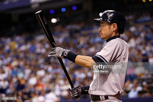 Ichiro Suzuki of the New York Yankees prepares to bat during the third inning of a game against the Tampa Bay Rays on September 17 2014 at Tropicana...