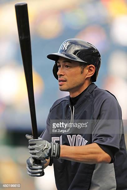 Ichiro Suzuki of the New York Yankees prepares to take batting practice prior to a game against the Kansas City Royals at Kauffman Stadium on June 6...