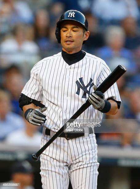 Ichiro Suzuki of the New York Yankees reacts after striking out in the second inning against the Seattle Mariners at Yankee Stadium on June 2 2014 in...