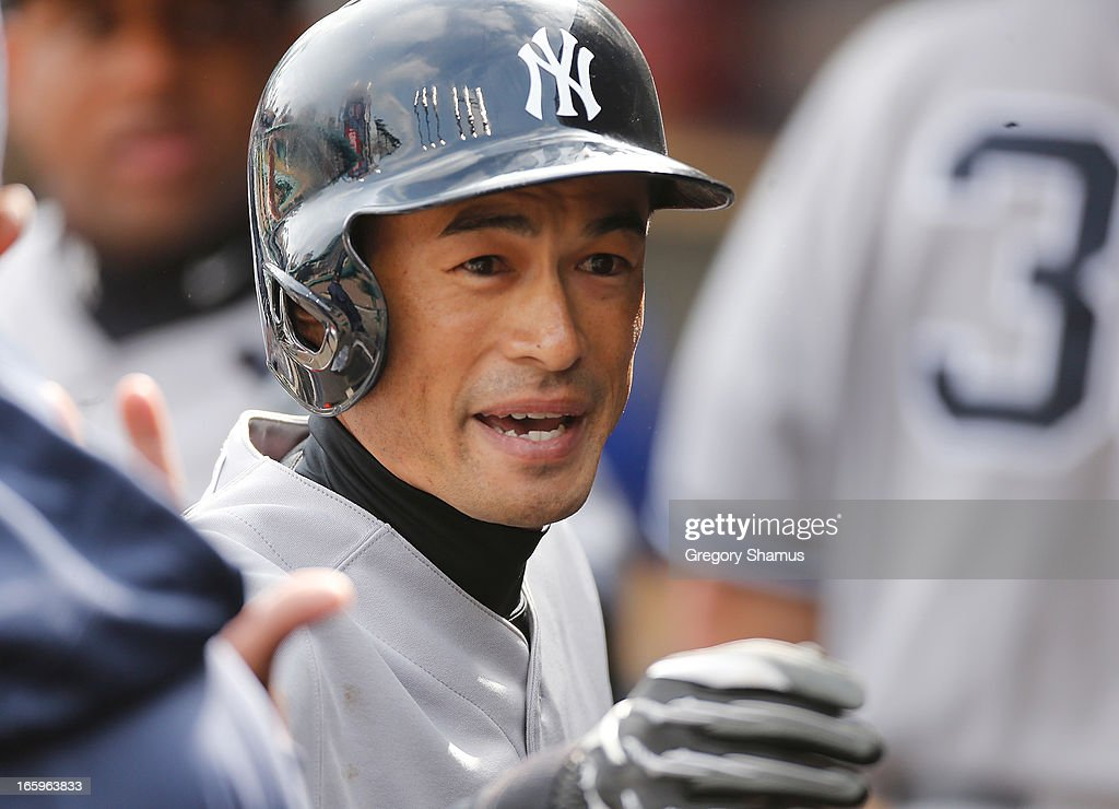Ichiro Suzuki #31 of the New York Yankees reacts in the dugout after an eighth inning sacrifice fly while playing the Detroit Tigers at Comerica Park on April 7, 2013 in Detroit, Michigan. New York won the game 7-0.