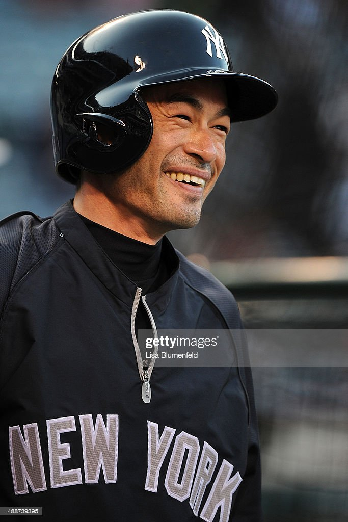 Ichiro Suzuki #31 of the New York Yankees smiles during batting practice before the game against the Los Angeles Angels of Anaheim at Angel Stadium of Anaheim on May 7, 2014 in Anaheim, California.