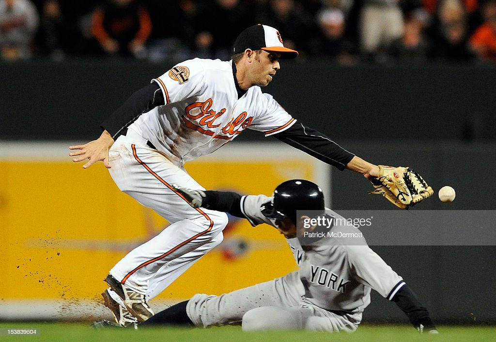 Ichiro Suzuki #31 of the New York Yankees steals second base past J.J. Hardy #2 of the Baltimore Orioles in the top of the seventh inning during Game Two of the American League Division Series at Oriole Park at Camden Yards on October 8, 2012 in Baltimore, Maryland.