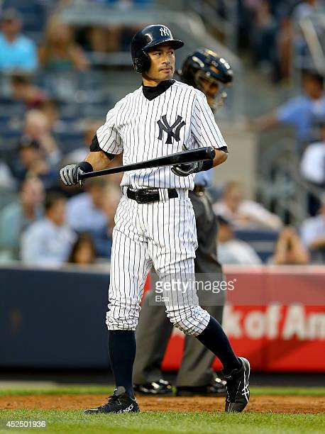Ichiro Suzuki of the New York Yankees strikes out in the second inning against the Texas Rangers on July 21, 2014 at Yankee Stadium in the Bronx...